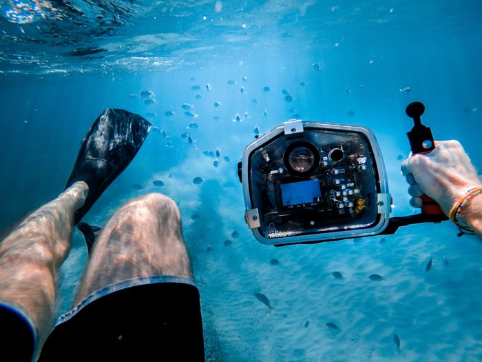 A GoPro camera being used underwater