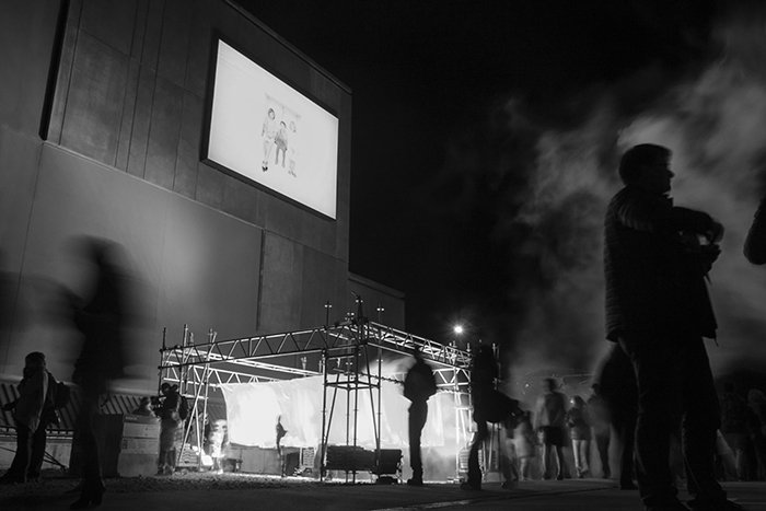 Black and white nighttime event photography