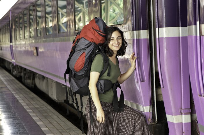 Photo of a backpacker standing next to a train