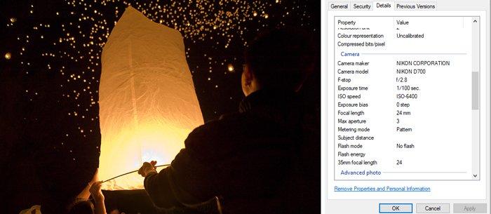 照片的屏幕截图及其EXIF数据