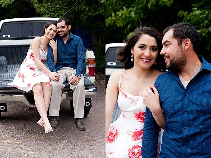 A couple shot with the arm hold pose , engagement photo poses diptych