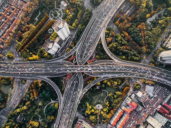 A drone photo of a highway crossing