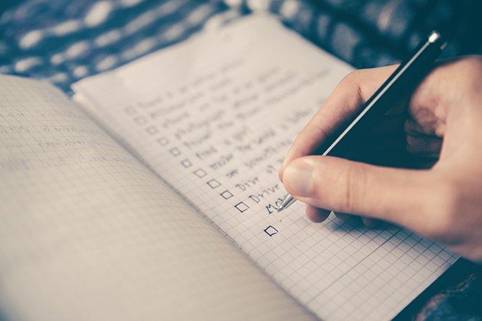 Photo of a checklist