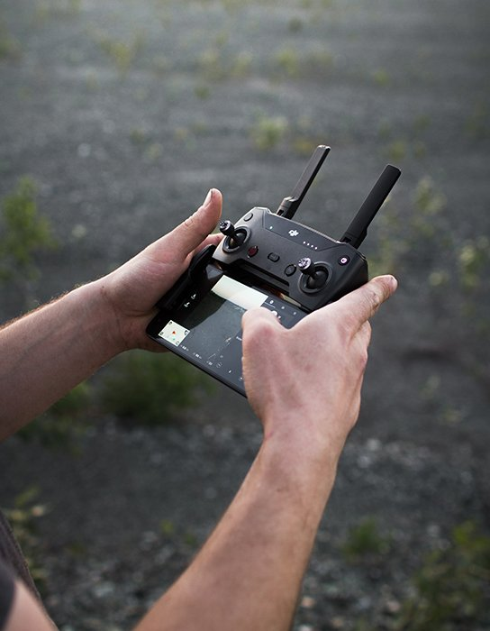 Photo of a control remote of a drone