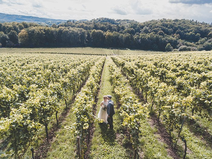 Drone wedding photo at a vineyard