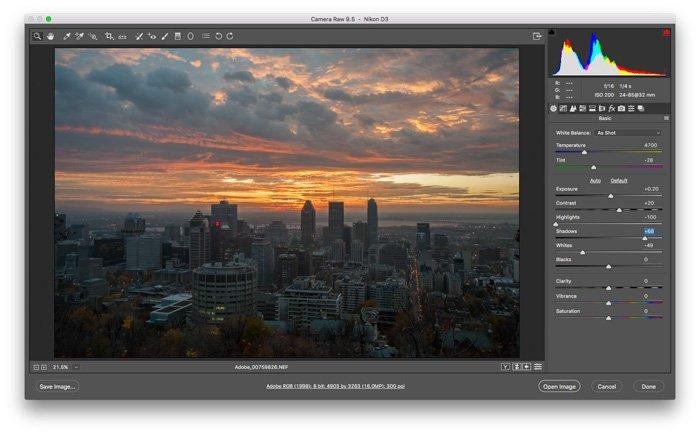 A screenshot of editing with Camera RAW