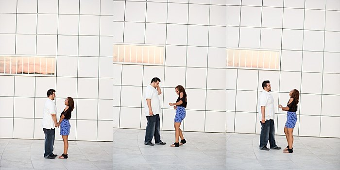 a triptych portrait of a couple trying engagement photo poses indoors