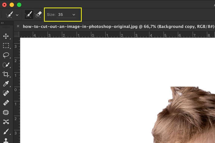 A screenshot showing how to select brush size to Photoshop hair