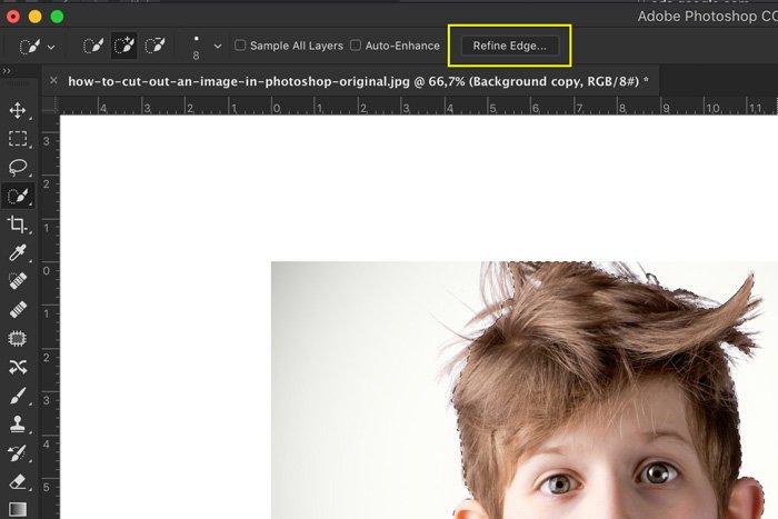 A screenshot showing how to Photoshop hair using refine edge tool