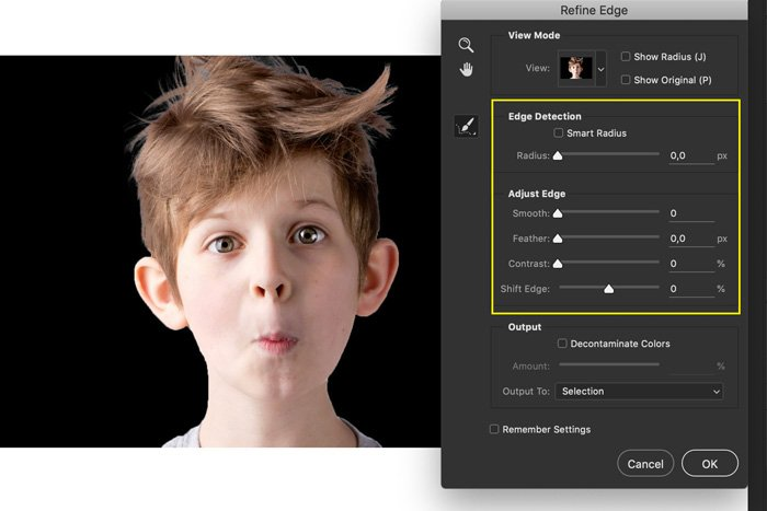 A screenshot showing how to refine edges to Photoshop hair in a portrait