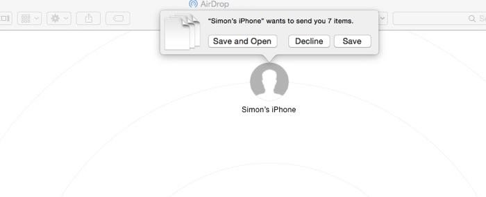 a screenshot of using Airdrop to transfer photos from devices