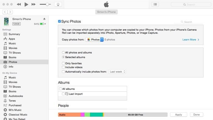 screenshot of using iTunes to transfer photos to and from your iPhone.