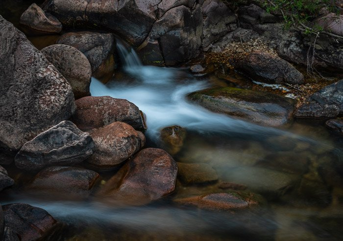 Flowing water shot with a slow shutter speed