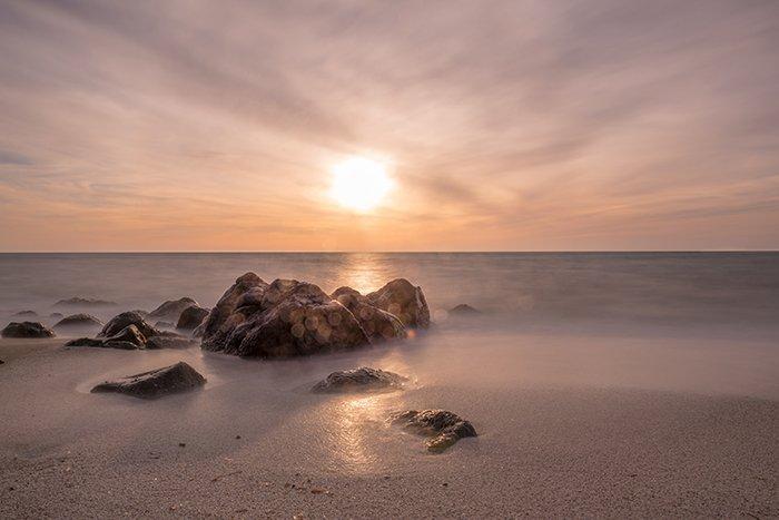 Landscape photo of a beach an dawn