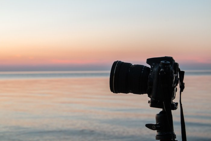 Photo of a camera at sunset