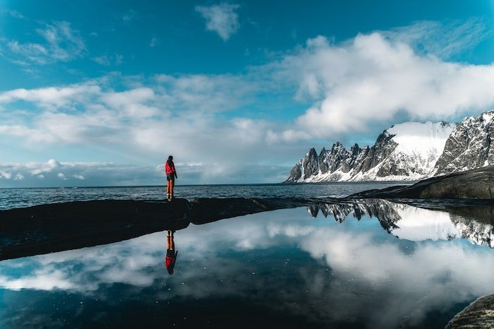 A person standing in an arctic landscape