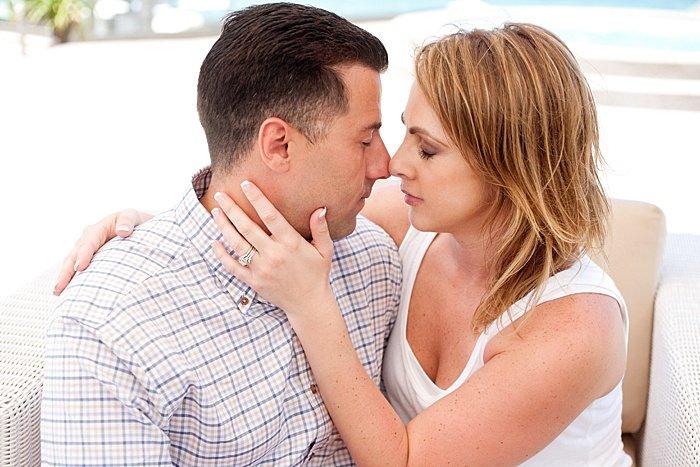 a romantic portrait of a couple rubbing noses