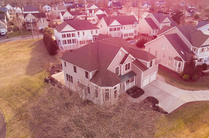Drone photo of a houses