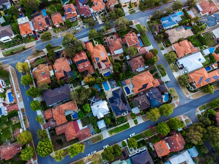Drone photo of a block of houses