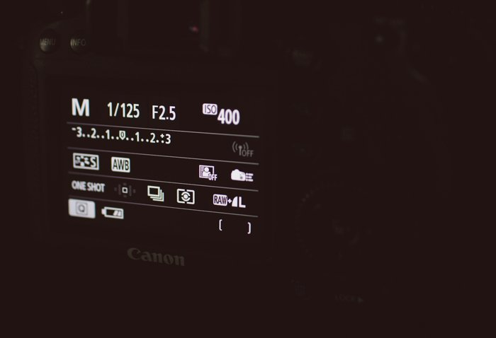 Photo of the LCD screen of a camera shot in the dark