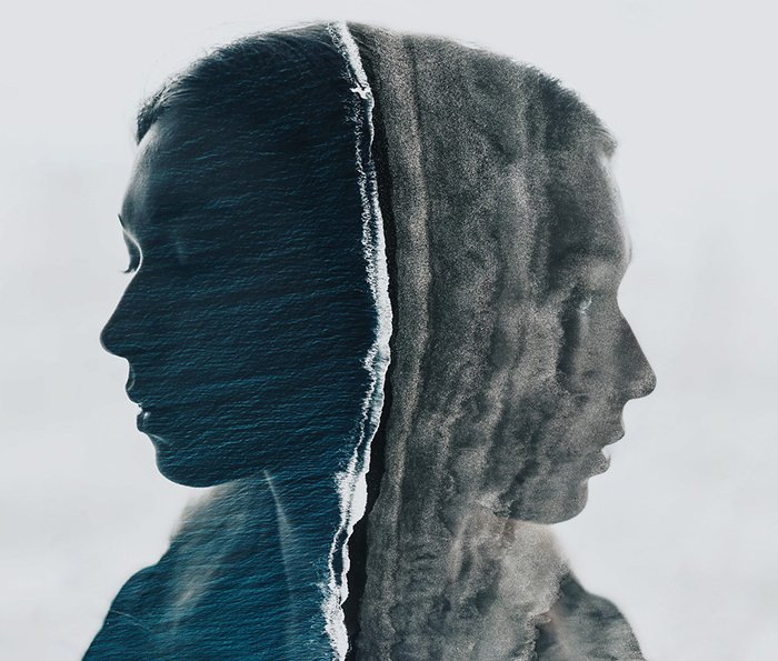a conceptual double exposure of a female model
