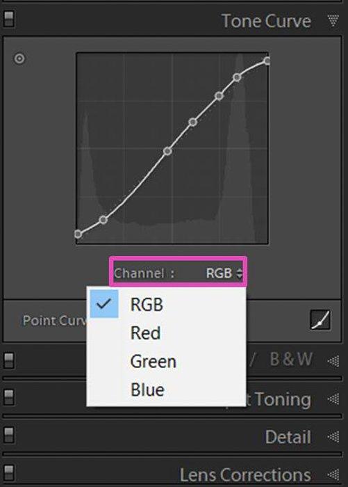 Lightroom色调曲线的截图