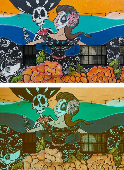 two photos of the same graffiti-ed wall, the second edited in a cross-processed look editing style