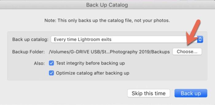 Screenshot of Lightroom Catalog