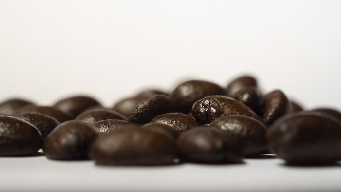 a close up of coffee beans