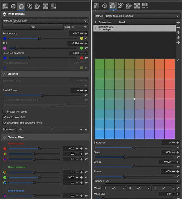 Screenshot of the Color section within the Editor tab