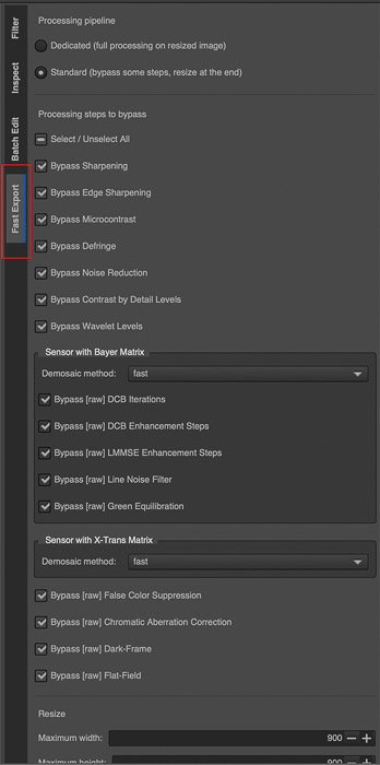 The Export section within the File Browser tab