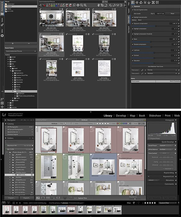 RawTherapee interface (top) is similar to Lightroom's interface (bottom) but does feel less intuitive.
