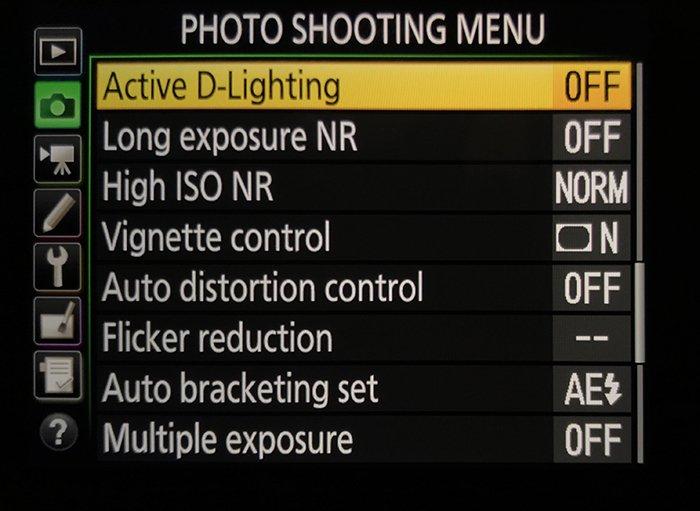 Photo shooting menu Nikon