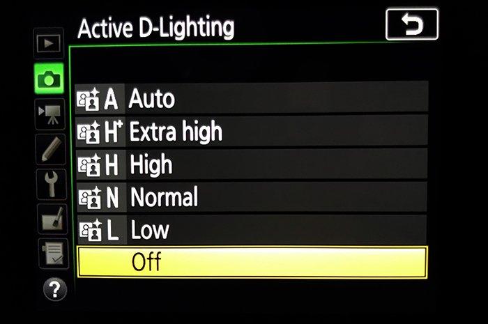 Active D-LIghting Menu Nikon