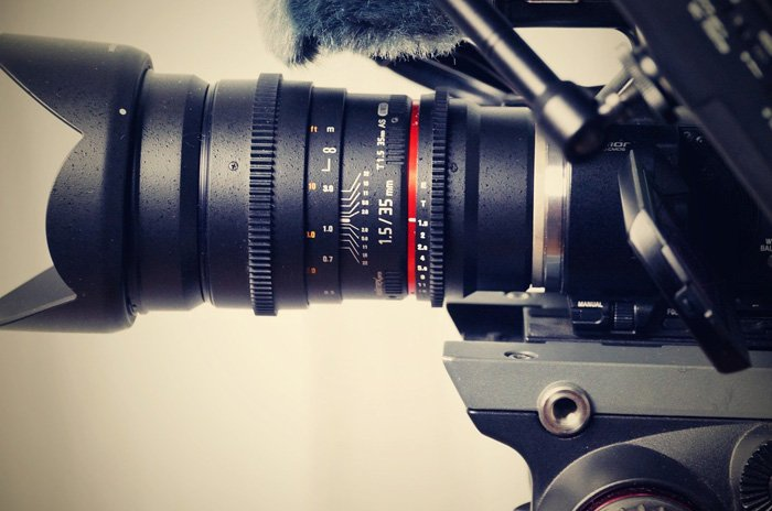 Close-up photo of an anamorphic lens