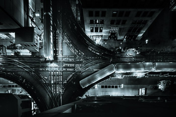 Digital photography aerial view of a sprawling cityscape at night