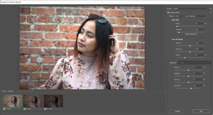 Editing a portrait photo