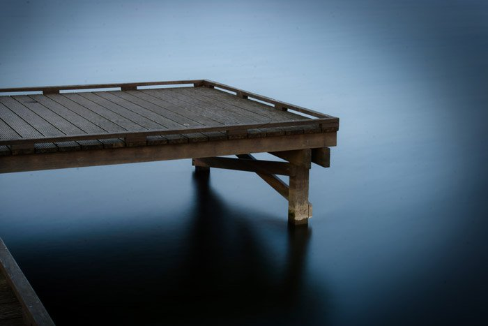 Photo of a pier with lens vignetting