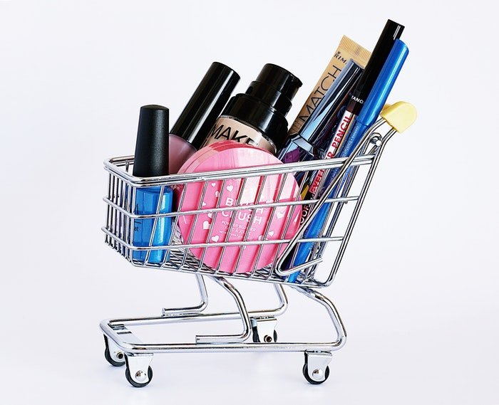 Product photo of different makeup products