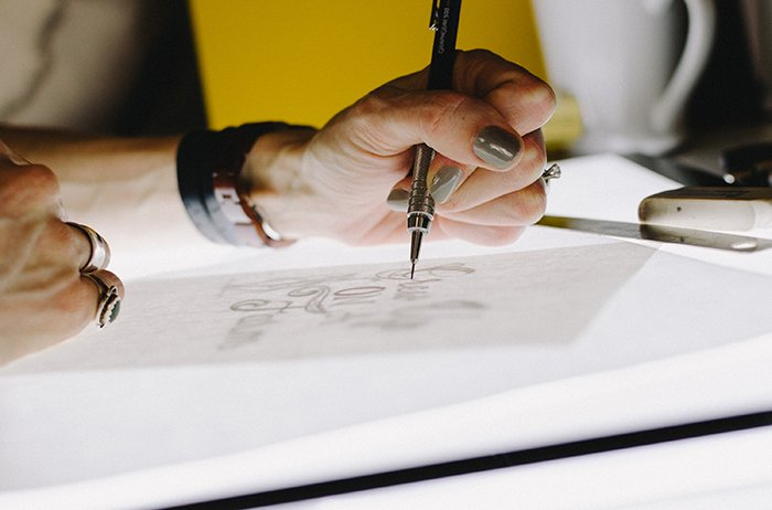 a close up of a designer drawing