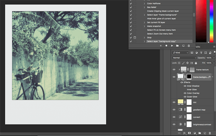 a screenshot of editing with Polaroid Generator / Polanoid on Photoshop