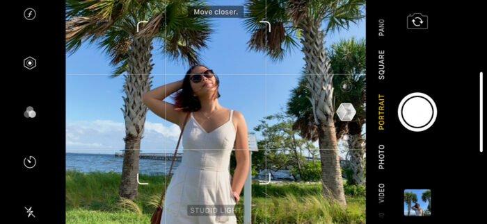 Screenshot of using portrait mode on iPhone