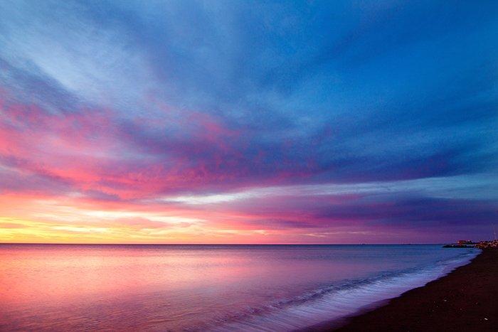 A vibrant sunset beach shot