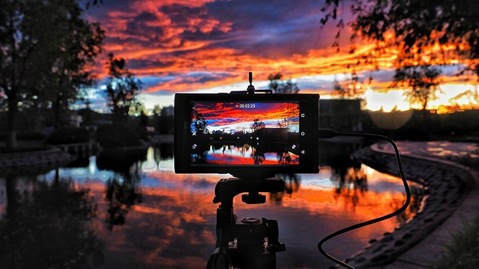 A screen recording a sunset timelapse