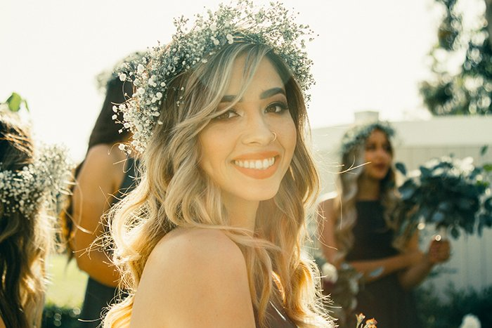 A girl with a floral wreath in her hair