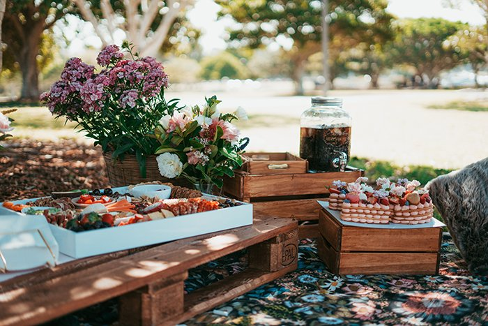 A picnic layout with flowers