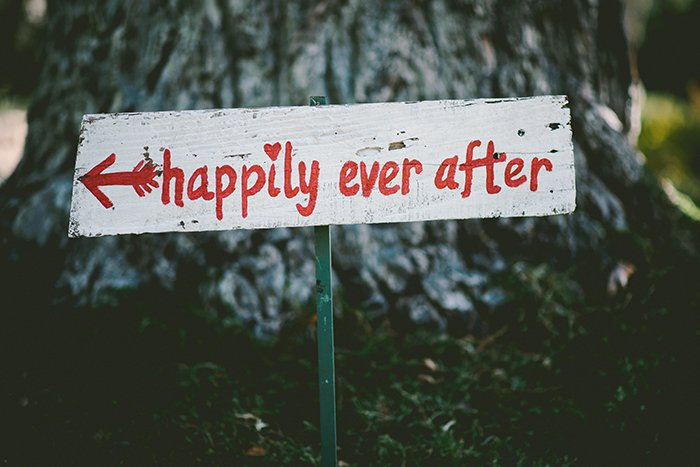a handmade wedding sign saying 'happily ever after'