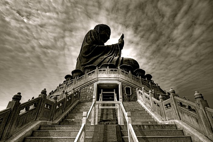 HDR photo of the side of a Buddha statue