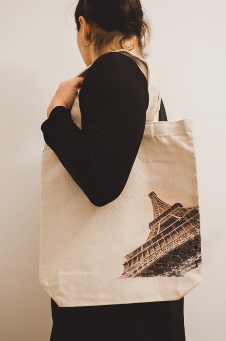 Photo of a canvas bag with the Eiffel tower printed on it