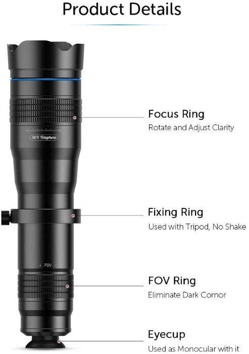 Apexel 36x Telephoto Lens
